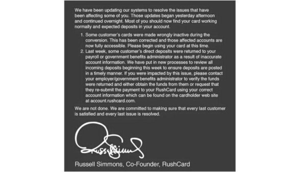 russell simmons statement on RushCard situation