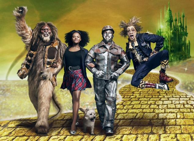 """NBC has released its first photo of """"The Wiz"""" cast in their getups. Pictured L-R: David Alan Grier as the Cowardly Lion, Shanice Williams as Dorothy, Ne-Yo as the Tin Man and Elijah Kelley as the Scarecrow. Source: Ny Daily News"""