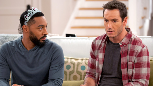 "Tone Bell (L) and Mark Paul Gosslar in NBC's ""Truth Be Told"""