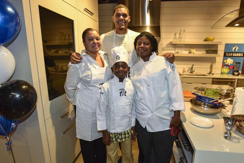 Team Harris was the winning team. Tobias Harris (center), his mom, Lisa (left), and Karen Smith (right) and Josiah age 11(right). Photo Credit:: Fernando Medina, Orlando Magic.
