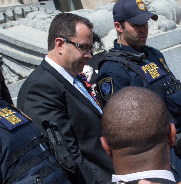 Jared Fogle leaves the courthouse on August 19, 2015 in Indianapolis, Indiana. Fogle was part of a Federal Investigation which included a raid of his home in July 2015.