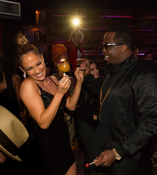 Actress/recording artist Jennifer Lopez (L) and Sean Combs attend Jennifer Lopez's 2015 American Music Awards After Party on November 22, 2015 in Los Angeles, California.