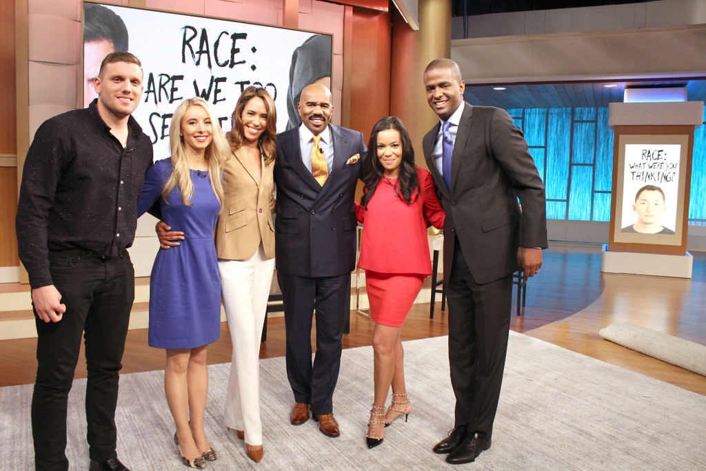 L to R, Katie Kieffer, Crystal Wright, Chris DiStefano, Steve Harvey, Sunny Hostin and Bakari Sellers.