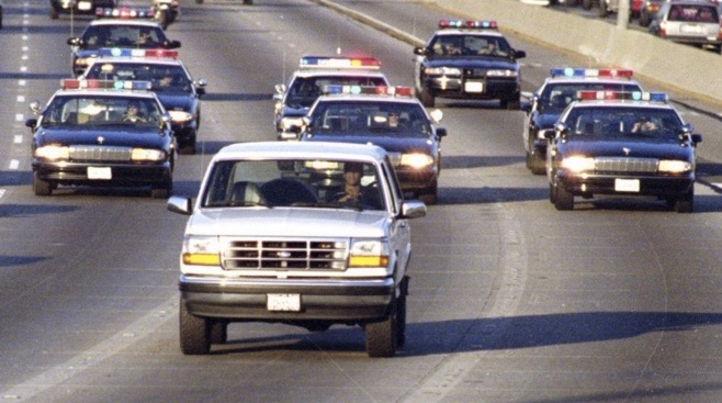 O.J. Simpson and driver Al Cowlings chased by police in Los Angeles on June 17, 1994