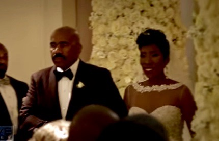 Steve Harvey walks his daughter Karli down the aisle on her wedding day
