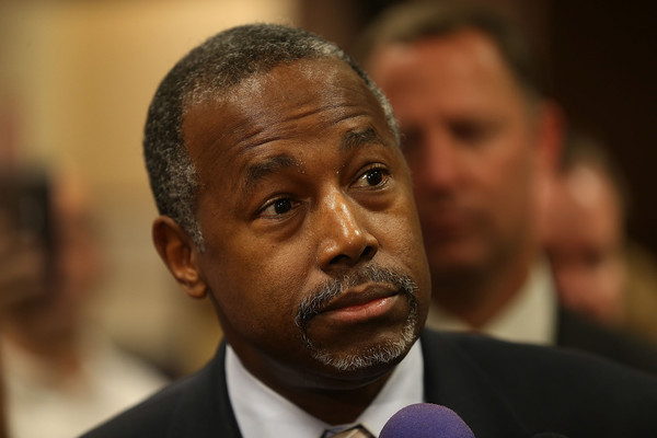 Republican presidential candidate Ben Carson speaks to the media during a stop to sign his book at a Barnes and Noble store on November 5, 2015 in Miami, Florida.