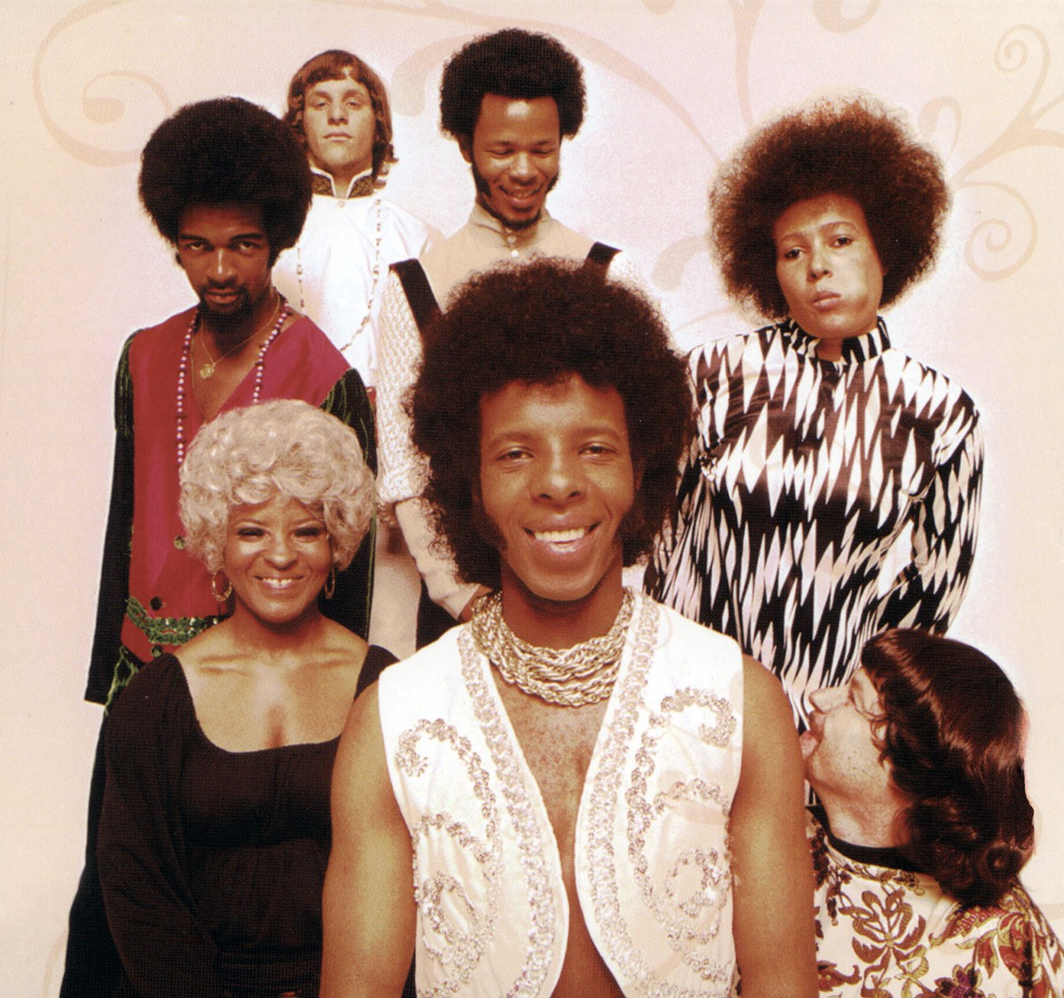 Sly and the Family Stone. L-R (back): Larry Graham, Gregg Errico, Freddie Stone, Cynthia Robinson; (front): Rose Stone, Sly Stone, Jerry Martini