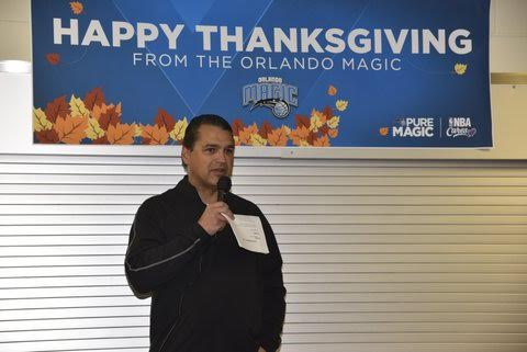 Magic CEO Alex Martins at the Magic's Coalition for the Homeless Thanksgiving breakfast. Photo Credit: Gary Bassing, Orlando Magic.
