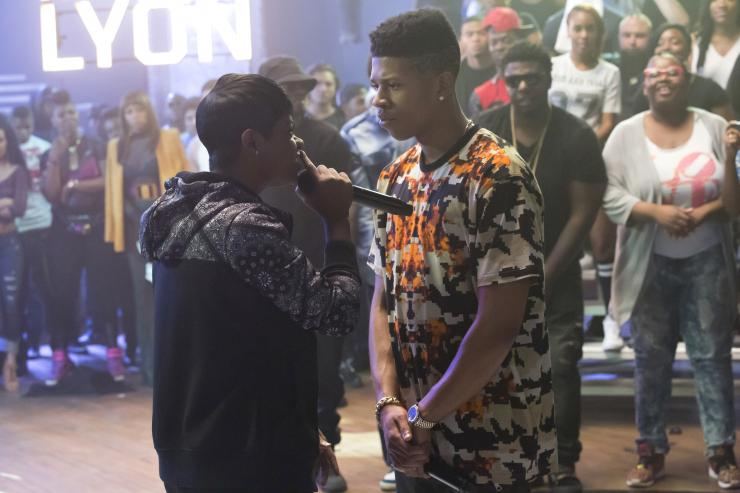 """Hakeem Lyon (Bryshere Y. Gray, right) in a rap battle that will feature Empire and Lyon Dynasty squaring off against each other on """"Empire"""" episode 8."""