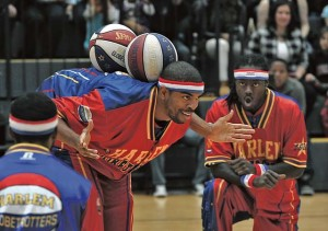"Donte' ""Hammer"" Harrison performing as a member of the Harlem Globetrotters."