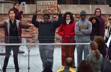 Students protest at Ithaca College in New York