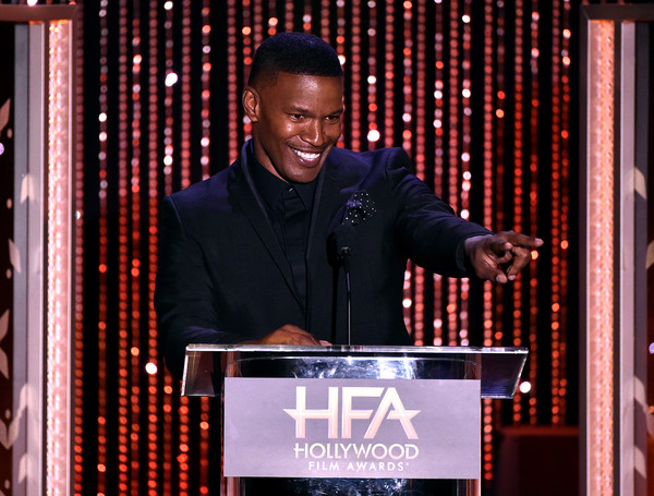 Actor Jamie Foxx speaks onstage during the 19th Annual Hollywood Film Awards at The Beverly Hilton Hotel on November 1, 2015 in Beverly Hills, California.