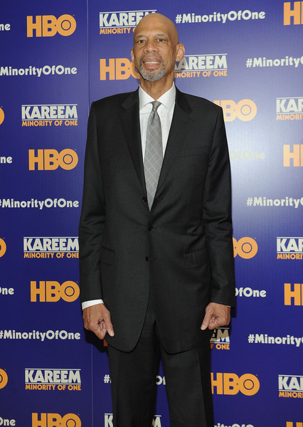"NBA Star Kareem Abdul Jabbar attends the ""Kareem: Minority Of One"" New York Premiere at Time Warner Center on October 26, 2015 in New York City."