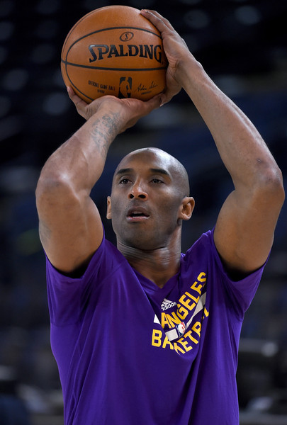 Kobe Bryant #24 of the Los Angeles Lakers warms up prior to playing the Golden State Warriors in an NBA basketball game at ORACLE Arena on November 24, 2015 in Oakland, California.
