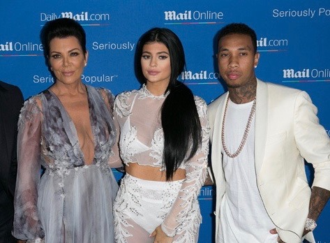 (L-R): Kris Jenner, Kylie Jenner and Tyga