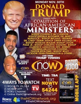poster for Donald Trump meeting with black pastors