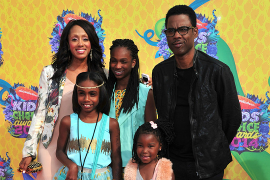 Chris Rock, Malaak Compton-Rock and their kids in March 2014
