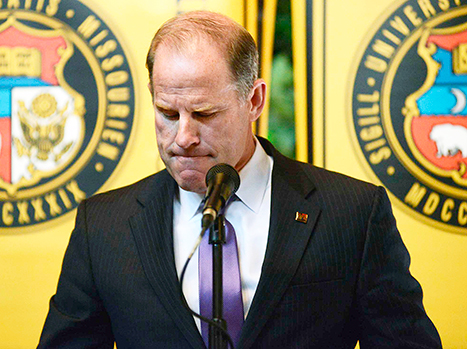 University of Missouri president Tim Wolfe announces his resignation