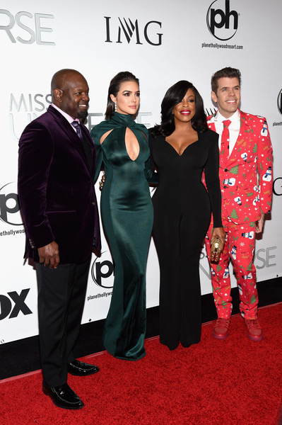 (L-R) Judges Emmitt Smith, Olivia Culpo, Niecy Nash and Perez Hilton attend the 2015 Miss Universe Pageant at Planet Hollywood Resort & Casino on December 20, 2015 in Las Vegas, Nevada.