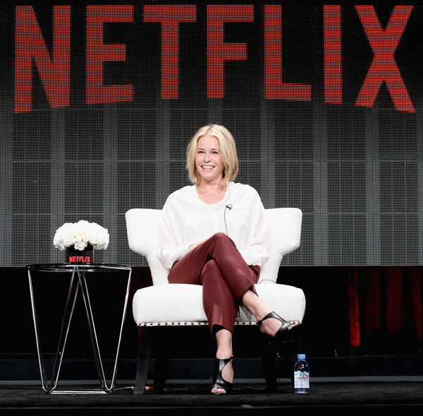 "Comedian Chelsea Handler speaks onstage during the ""Chelsea Does"" panel discussion at the Netflix portion of the 2015 Summer TCA Tour at The Beverly Hilton Hotel on July 28, 2015 in Beverly Hills, California."