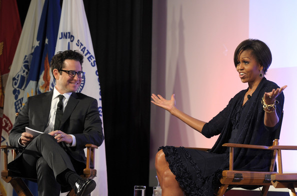Producer J.J. Abrams (L) and First Lady Michelle Obama discuss Joining Forces with Hollywood Trade Representatives at the Writers Guild Theatre on June 13, 2011 in Beverly Hills, California.