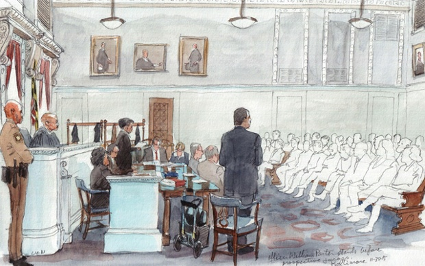 Courtroom sketch by: Art Lien