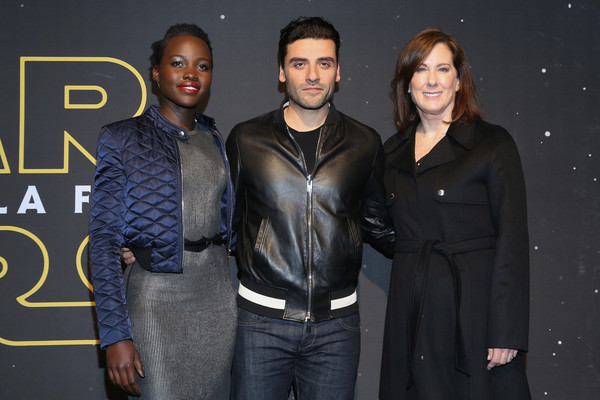 "Lupita Nyong'o, actor Oscar Isaac and film producer Kathleen Kennedy attend the ""Star Wars: The Force Awakens"" Mexico City premiere fan event at Cinemex Antara Polanco on December 8, 2015 in Mexico City, Mexico."
