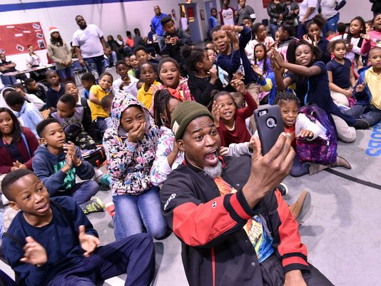David Banner with kids at the Boys & Girls Clubs of Central Mississippi Friday, Dec 18, 2015