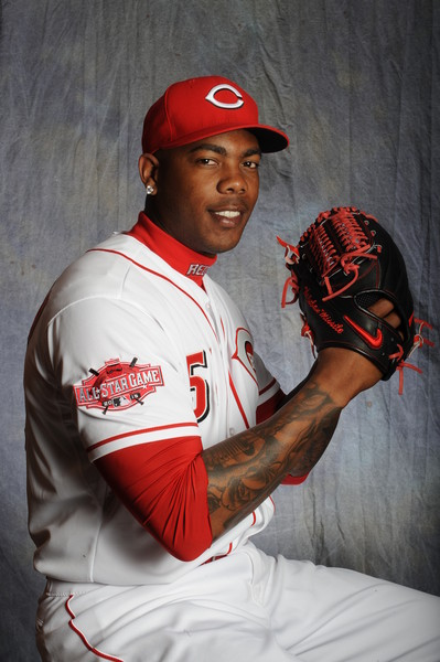 Aroldis Chapman #54 of the Cincinnati Reds poses for a portrait during Photo Day on February 26, 2015 at Goodyear Ballpark in Goodyear, Arizona