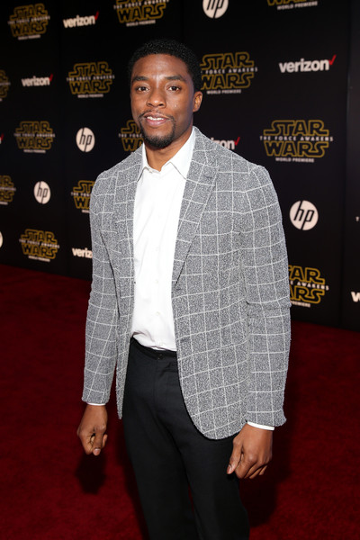 "Actor Chadwick Boseman attends the World Premiere of ""Star Wars: The Force Awakens"" at the Dolby, El Capitan, and TCL Theatres on December 14, 2015 in Hollywood, California."