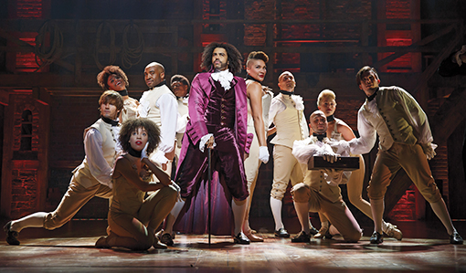 "Daveed Diggs as Thomas Jefferson and the ensemble of Broadway's ""Hamilton."""