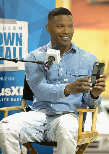 Host Jamie Foxx attends SiriusXM 'Town Hall' With Jay Leno Hosted By Jamie Foxx on October 15, 2015 in Burbank, California.