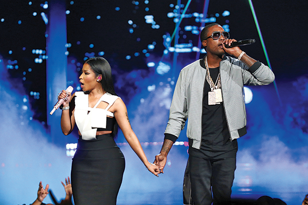 Nicki Minaj and Meek Mill onstage during the 2015 BET Awards on June 28, 2015 in Los Angeles.Mark Davis/BET/Getty Images for BET