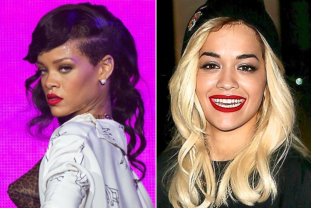 Rihanna (L) and Rita Ora