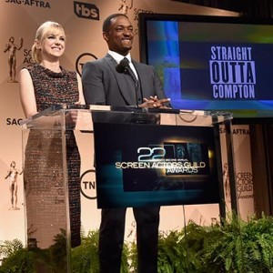 Oscar nominated Anna Faris and Anthony Mackie (Captain America:Winter Soldier) hosted the 22nd Annual SAG Awards Nominations announcements. (Credit: SAG-AFTRA)