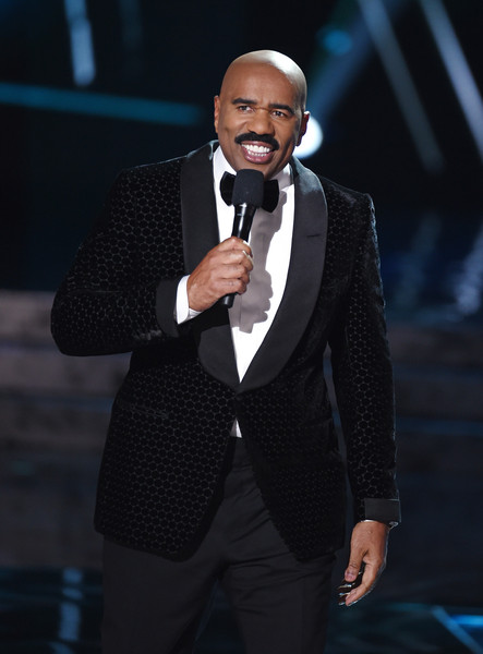 Television personality Steve Harvey hosts the 2015 Miss Universe Pageant at The Axis at Planet Hollywood Resort & Casino on December 20, 2015 in Las Vegas, Nevada.