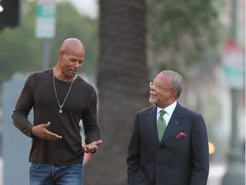 "Dr. Henry Louis Gates Jr. with Keenan Ivory Wayans on ""Finding Your Roots"" (PBS)"