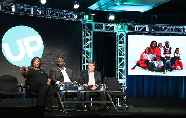 (L-R) Mia McGhee, Rozonno McGhee and Bill Hayes, executive producer, Figure 8 Films, speak onstage during the 'The McGhee Family' panel as part of the UP portion of This is Cable 2016 TCA Press Tour at Langham Hotel on January 5, 2016 in Pasadena, California.