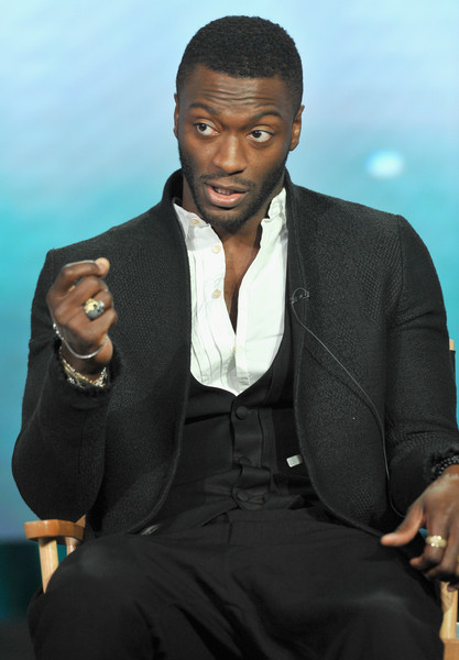 "Actor Aldis Hodge speaks onstage during the WGN America Winter 2016 TCA Press Tour for ""Underground"" at The Langham Huntington Hotel and Spa on January 8, 2016 in Pasadena, California."