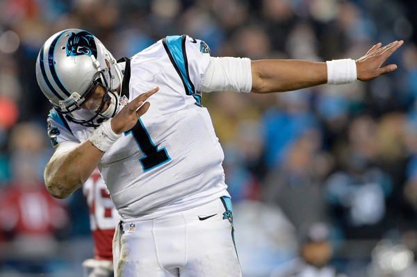 Cam Newton #1 of the Carolina Panthers celebrates during the NFC Championship Game against the Arizona Cardinals at Bank of America Stadium on January 24, 2016 in Charlotte, North Carolina.