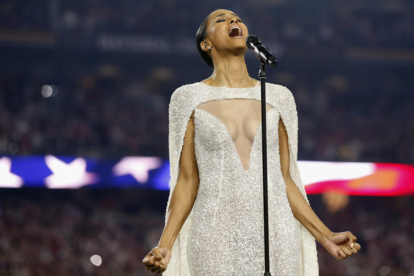 Singer Ciara sings the national anthem prior to the start of the 2016 College Football Playoff National Championship Game between the Alabama Crimson Tide and the Clemson Tigers at University of Phoenix Stadium on January 11, 2016 in Glendale, Arizona.