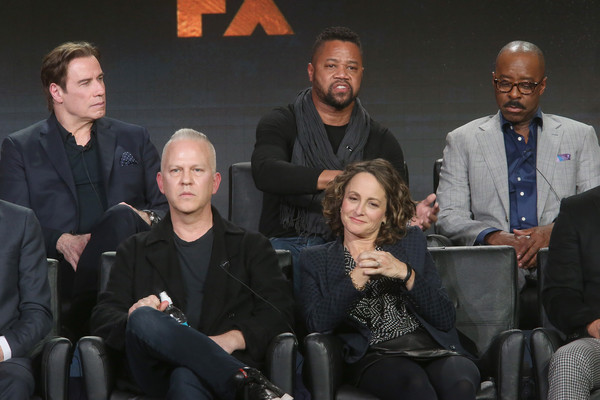 "(L-R Front Row) Executive Producer/Director Ryan Murphy and Executive Producer Nina Jacobson, (L-R Back Row) actors John Travolta, Cuba Gooding Jr. and Courtney B. Vance speak onstage during ""The People v. O.J. Simpson: American Crime Story"" panel discussion at the FX portion of the 2015 Winter TCA Tour at the Langham Huntington Hotel on January 16, 2016 in Pasadena, California."