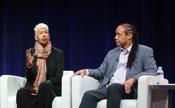 Former Black Panthers and film participants Ericka Huggins (L) and Jamal Joseph speak onstage during 'The Black Panthers: Vanguard of the Revolution' press conference as part of the PBS portion of the 2016 Television Critics Association Winter Press Tour at Langham Hotel on January 19, 2016 in Pasadena, California.