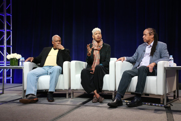 (L-R) Director Stanley Nelson and film participants Ericka Huggins and Jamal Joseph speak onstage during 'The Black Panthers: Vanguard of the Revolution' press conference as part of the PBS portion of the 2016 Television Critics Association Winter Press Tour at Langham Hotel on January 19, 2016 in Pasadena, California.