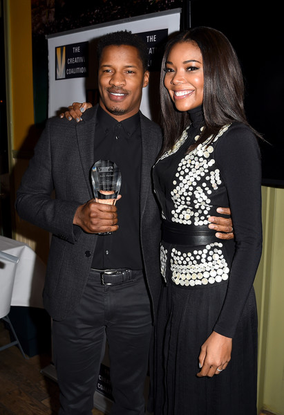 Actors Nate Parker (L) and Gabrielle Union attend the Creative Coalition Spotlight Initiative Awards Gala Dinner at Cisero's Bar on January 23, 2016 in Park City, Utah.
