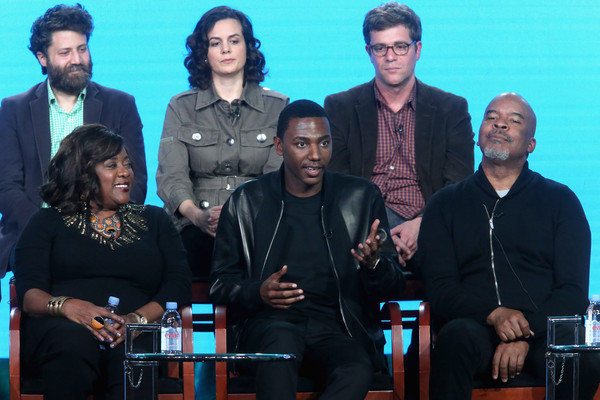 (L-R back) Executive producers Ravi Nandan, Danielle Sanchez-Witzel and Nicholas Stoller (L-R front) Actors Loretta Devine, executive producer/actor Jerrod Carmichael and actor David Alan Grier and Amber Stevens West speak onstage during 'The Carmichael Show' panel discussion at the NBCUniversal portion of the 2015 Winter TCA Tour at Langham Hotel on January 13, 2016 in Pasadena, California.