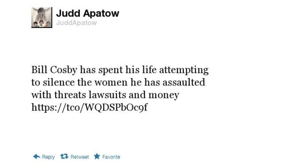 Judd Apatow tweet on Bill Cosby