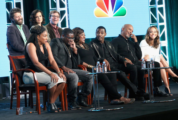 (L-R back) Executive producers Ravi Nandan, Danielle Sanchez-Witzel and Nicholas Stoller (L-R front) Actors Tiffany Haddish, Lil Rel Howery, Loretta Devine, executive producer/actor Jerrod Carmichael, actors David Alan Grier and Amber Stevens West speak onstage during 'The Carmichael Show' panel discussion at the NBCUniversal portion of the 2015 Winter TCA Tour at Langham Hotel on January 13, 2016 in Pasadena, California.