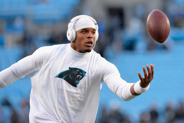 Cam Newton #1 of the Carolina Panthers warms up prior to the NFC Championship Game against the Arizona Cardinals at Bank of America Stadium on January 24, 2016 in Charlotte, North Carolina.