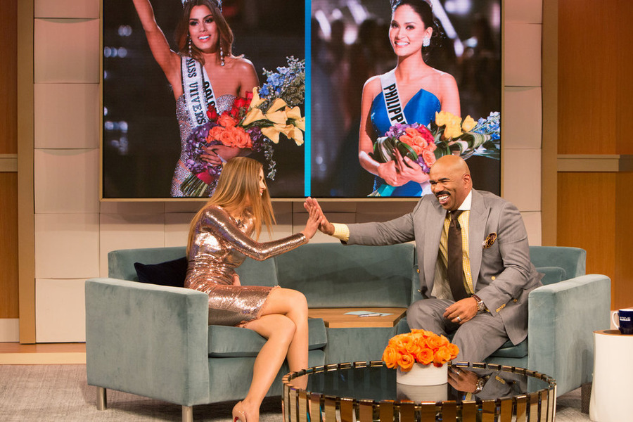 THE STEVE HARVEY SHOW -- Miss Universe: The Truth -- Part 2 -- Pictured: (l-r) Ariadna Gutierrez, Steve Harvey -- (Photo by: Jeff Schear/NBC)